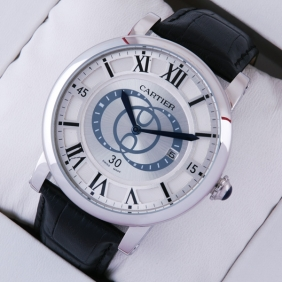 Replica Rotonde de Cartier Silver Dial Black Large Mens Watches