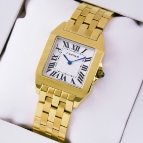 Cartier Santos 100 Full 18K Yellow Gold Silver Grained Dial Unisex Watches replica