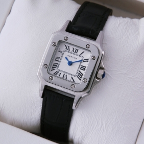 Cartier Santos 100 Stainless Steel Black Leather Strap Ladies Watches replica