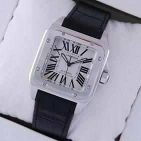 Cartier Santos 100 Steel Black Leather Strap Midsize Unisex Replica Watches W20106X8