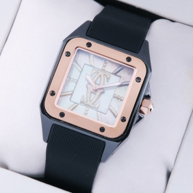 Cartier Santos 100 Tow-Tone Rose Gold Black Rubber Band Limited Edition Ladies Watches