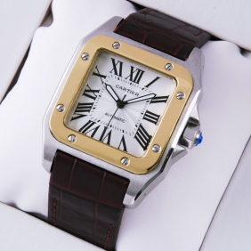 Cartier Santos 100 Two-Tone Automatic Brown Leather Strap Mens Watches replica