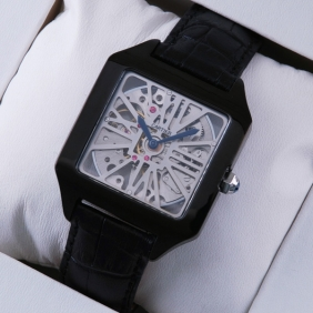 Cartier Santos Dumont Skeleton Black PVD Black Leather Strap Mens Watches fake