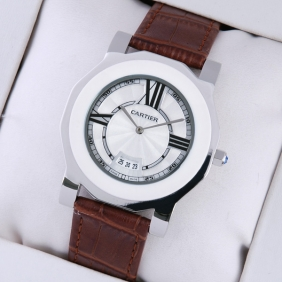 Cartier Fake Octangle Case White Dial Brown Leather Mens Watches