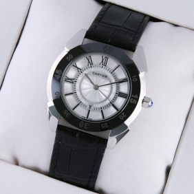 Cartier Stainless Steel White Dial Black Leather Strap Mens Watches imitation