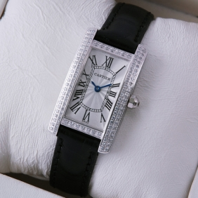 Cartier Tank Americaine 18K White Gold Black Leather Band Diamonds Ladies Watches
