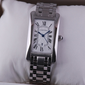 Cartier Tank Americaine 18K White Gold Midsize Unisex replica Watches