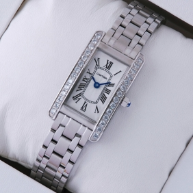 Cartier Tank Americaine Stainless Steel Diamonds Bezel Ladies Watches replica