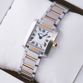 Cartier Tank Francaise Two-Tone Gold Ladies Watches fake