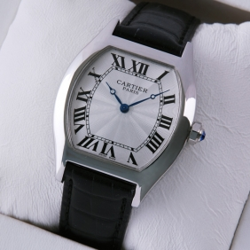 Cartier Tortue Black Leather Strap Stainless Steel Mens Watches replica
