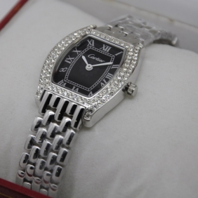 Cartier Tortue Diamond Stainless Steel Diamonds Bezel Black Dial Ladies Fake Watches