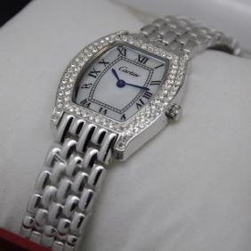 Cartier Tortue Diamond Stainless Steel Diamonds Bezel MOP Dial Ladies replica Watches
