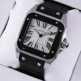 Cheap Cartier Santos 100 Mens Watch W20121U2 Stainless Steel Black Rubber Band