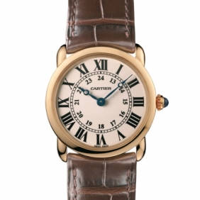 Replica Ladies Ronde Solo Louis Cartier Leather Strap Watches