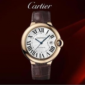 Hot sale Cartier Mens Ballon Bleu Rose Gold Automatic Leather Strap Watch Fake