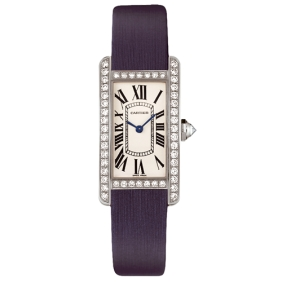 Fashion Cartier Tank Americaine Diamond Rectangle Case Watch Satin Strap