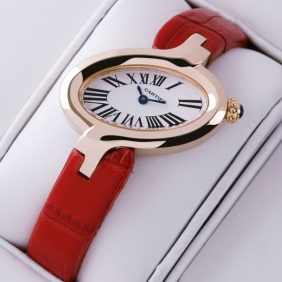 Delices De Cartier 18k Rose Gold Leather Strap Ladies Watches imitation
