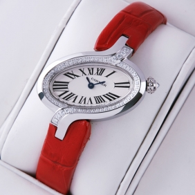 Delices De Cartier Diamonds Stainless Steel Leather Strap Ladies Watches cheap