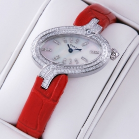 Delices De Cartier Diamonds Stainless Steel MOP Dial Leather Strap Ladies Watches best
