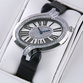 Delices de Cartier Stainless Steel Diamonds Black Fabric Strap Ladies Watches cheap