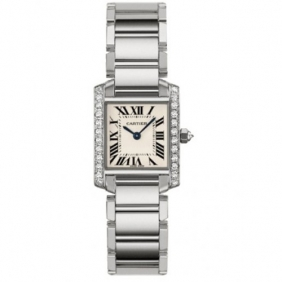 Exquisite Cartier Tank Francaise Square Diamond Stainless Steel Watch