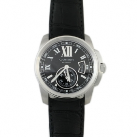 Discount Cartier Calibre Automatic Mens Watch Black Dial With Leather Strap