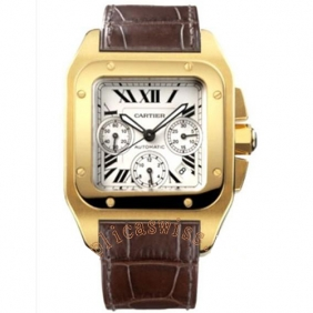 Cheap Sale Fashion Mens Cartier Santos Gold Automatic Watch Free Shipping