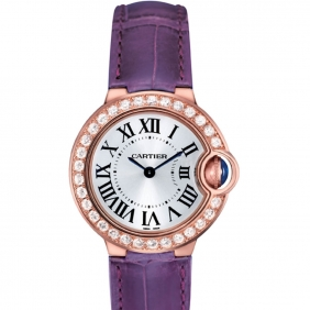 Ladies Purple 18K Rose Gold Ballon Bleu de Cartier Diamond Watch Cheap sale
