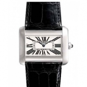 Hot Sale Square Cartier Leather Strap Tank Divan Midsize Unisex Watch