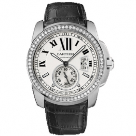 Hot sale Cartier Calibre Stainless steel Mens Automatic Stud Diamond Watch