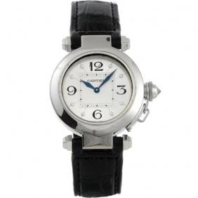 Buy Men Cartier Black Crocodile Leather Strap Pasha White Gold Watch