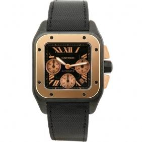 Cheap Elegant Mens Cartier Santos Chronograph Gold Titanium Watch Promotional