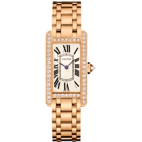 Freeshipping Gorgeous Luxury Cartier Tank Diamond Pink Gold Dial Watch