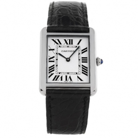 Sale Fashion Tank Solo Cartier Stainless Steel Black Leather Watch 2014