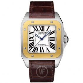 Hot sale Mens Cartier Santos Fashion Yellow Gold Watch Low Price Processing