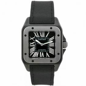 Santos De Cartier Steel Titanium Mens Watch Fabric Strap Cheap