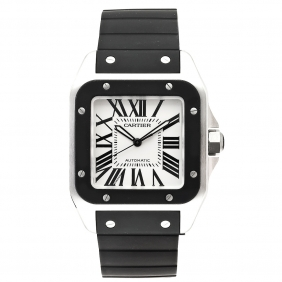 Best sale Cartier Santos Mens Watch Automatic Movement Rubber Strap White Dial