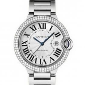 Mens Cartier Diamond Imitation Watch White Gold Ballon Bleu Automatic