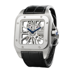 Best sale Cartier Santos Skeleton Stainless Steel Automatic Mens Watches