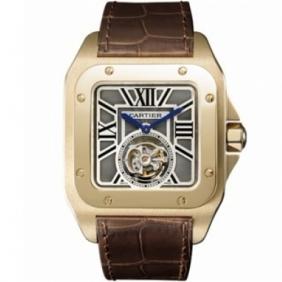 Hot Cartier Santos Flying Tourbillon Leather Strap Mens Watch Online Sale