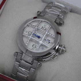 Pasha de Cartier Automatic Grid Stainless Steel Cage Design Silver Dial Ladies Watches fake Movement: Automatic self-wind movement Functions: Hours, Minutes, Seconds, displays date between 4 and 5 o'clock Case Material: Full Stainless Steel Construction,