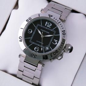 Pasha de Cartier Stainless Steel Black Dial Mens Replica Watches