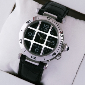 Pasha de Cartier Stainless Steel Black Leather Band Cage Design Mens Watches replica