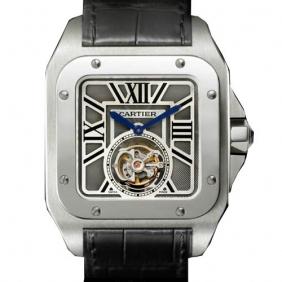 Cheap sale Santos de Cartier Flying Tourbillon Gray Dial Black Strap Watch