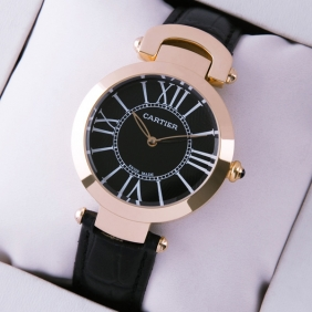 Ronde Solo De Cartier Black Leather 18K Rose Gold Ladies Watches imitation