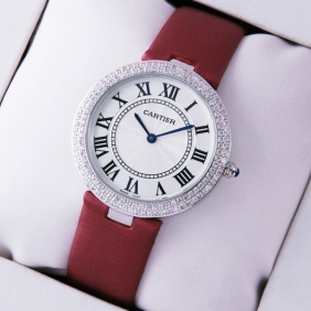 Ronde Solo De Cartier Diamond Stainless Steel Burgundy Stain Strap Ladies Watches replica