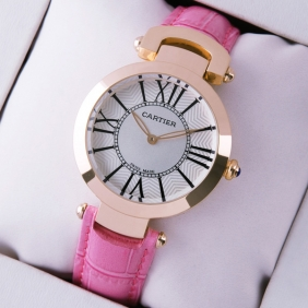 Ronde Solo De Cartier Pink Leather 18K Rose Gold Ladies Watches cheap