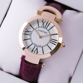 Ronde Solo De Cartier Purple Leather 18K Rose Gold Ladies Watches fake