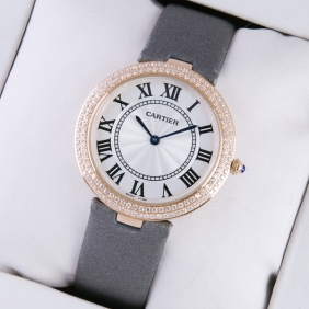 Ronde Solo De Cartier Rose Gold Two Rows Diamond Bezel Grey Satin Strap Ladies Watches