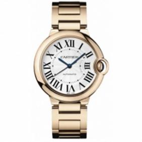 Cheap sale Cartier Ballon Bleu Rose Gold Sapphire Crystal Midsize Unisex Watch